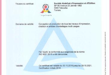 Certificat ISO 9001 : 2015